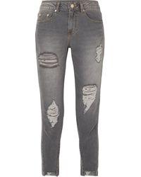 SJYP Verkürzte, Halbhohe Skinny Jeans In Distressed-optik Größe Xs - Grey