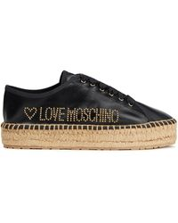 Love Moschino Studded Leather Espadrilles - Black