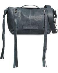 McQ - Textured-leather Shoulder Bag Storm Blue - Lyst