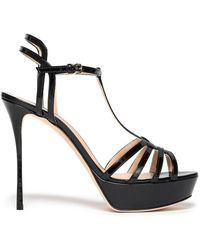Sergio Rossi Cutout Patent-leather Platform Sandals Black