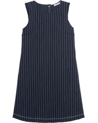 T By Alexander Wang - Frayed Pinstriped Cotton-burlap Mini Dress - Lyst