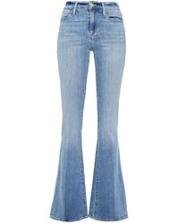 FRAME Le High Flare High-rise Flared Jeans Light Denim - Blue
