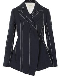 Cedric Charlier - Double-breasted Striped Linen And Cotton-blend Blazer - Lyst