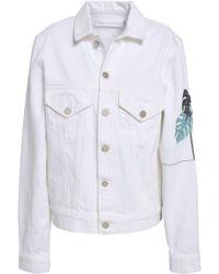 Victoria, Victoria Beckham Woman Embroidered Denim Jacket White