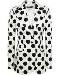Dolce & Gabbana Polka-dot Silk-satin Blazer - White