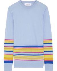 10 Crosby Derek Lam Wool, Silk & Cashmere Striped Jumper - Blue