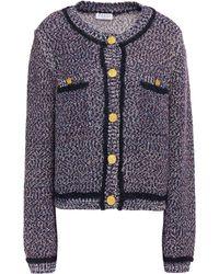 Claudie Pierlot Bouclé-knit Cotton-blend Cardigan - Blue