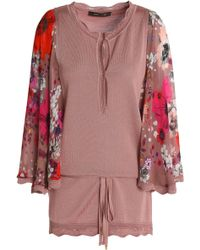 Roberto Cavalli - Floral-print Crepe-paneled Stretch-knit Top Antique Rose - Lyst