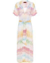 Missoni Mare Belted Crochet-knit Midi Dress White