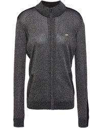 Bella Freud Striped Metallic Knitted Track Jacket - Black