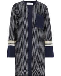 Victoria, Victoria Beckham - Woman Printed Silk-satin Mini Dress Midnight Blue - Lyst