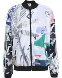 adidas Originals - Woman Printed Stretch-jersey Jacket Off-white - Lyst