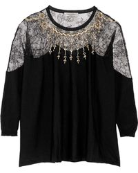 Valentino - Panelled Crystal-embellished Wool-blend Jumper - Lyst