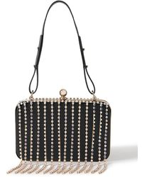 Area Embellished Leather Shoulder Bag - Black