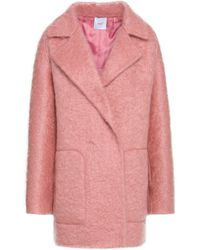 Agnona - Double-breasted Mohair-blend Coat Baby Pink - Lyst