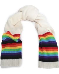 Madeleine Thompson - Woman Striped Intarsia-knit Wool And Cashmere-blend Scarf Ivory - Lyst