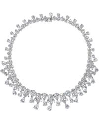 CZ by Kenneth Jay Lane Rhodium-pleated Crystal Necklace Silver - Metallic