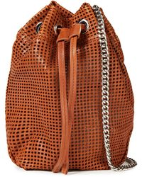 IRO Denzi Laser-cut Leather Bucket Bag - Brown