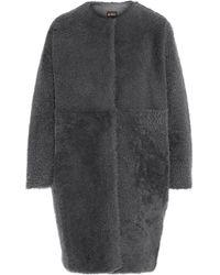 Karl Donoghue Shearling Coat Dark Gray