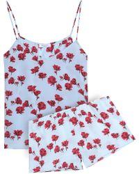 Equipment Alexy Floral-print Silk Crepe De Chine Pyjama Set Sky Blue
