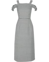 Mother Of Pearl - Rowena Cold-shoulder Checked Twill Midi Dress - Lyst