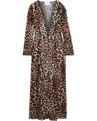 We Are Leone Leopard-print Silk-chiffon Robe Animal Print - Multicolour