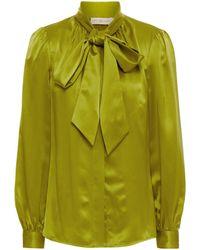 Tory Burch Pussy-bow Gathered Silk-satin Shirt - Green