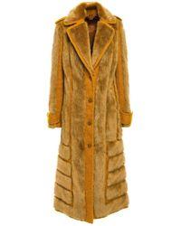 Acne Studios Braid-trimmed Faux Fur And Bouclé Coat Saffron - Multicolor