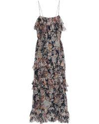 Zimmermann Floral-print Silk-georgette Midi Dress Pastel Pink