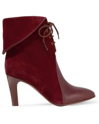 Chloé - Leather-paneled Suede Ankle Boots - Lyst