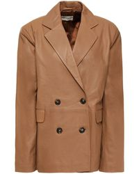Loulou Studio Davao Double-breasted Leather Blazer Light Brown