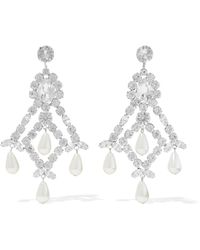 Kenneth Jay Lane - Silver-tone, Crystal And Faux Pearl Earrings - Lyst
