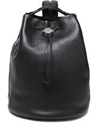Kara Textured-leather Backpack Black