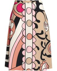 RED Valentino - Printed Crepe Skirt - Lyst