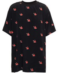McQ Printed Jersey-paneled Crepe De Chine T-shirt Black