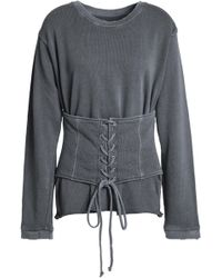 RTA - Lace-up Distressed French Cotton-terry Sweatshirt - Lyst