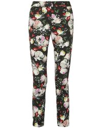 Erdem Sidney Floral-print Cotton-blend Slim-leg Trousers - Black