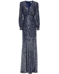 Rachel Zoe Ruched Sequined Tulle Gown Navy - Blue