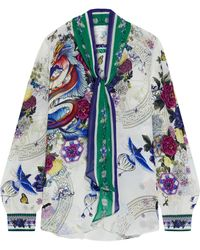 Camilla Tie-neck Crystal-embellished Printed Silk Crepe De Chine Blouse - White