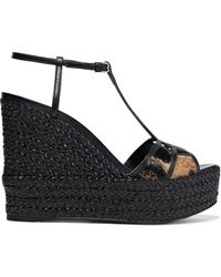 Sergio Rossi Easy Puzzle Cutout Leather And Printed Calf Hair Wedge Sandals Black