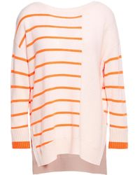 Duffy Striped Cashmere Sweater Pastel Pink