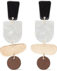Iris & Ink Zabine Burnished 18-karat Gold-plated, Marbled Acetate And Wood Earrings Multicolor