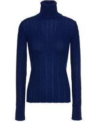 M Missoni Crochet-knit Wool-blend Turtleneck Jumper - Blue
