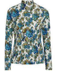 Stella McCartney Giedre Printed Scuba Top Ecru - Blue