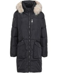 DKNY Faux Fur And Leather-trimmed Quilted Shell Hooded Coat Black