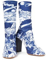 Neous Laelia Leather-trimmed Printed Stretch-jersey Sock Boots - Blue