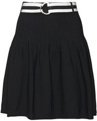 Claudie Pierlot Belted Pleated Jersey Mini Skirt Midnight Blue