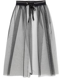 MM6 by Maison Martin Margiela Zip-embellished Tulle Midi Skirt - Black