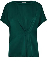 By Malene Birger Linaramma Pleated Satin-crepe Top Emerald - Green