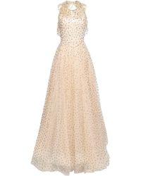 Jenny Packham Open-back Embellished Metallic Polka-dot Tulle Gown Sand